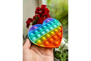Сенсорная игрушка антистресс Pop-it (попит) радужные цвета