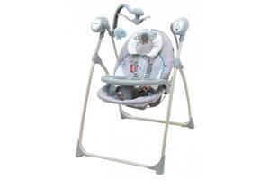 Шезлонг качалка для новорожденных с мобилем и пультом Baby Mix, серый.  Подарок новорожденному ребенку