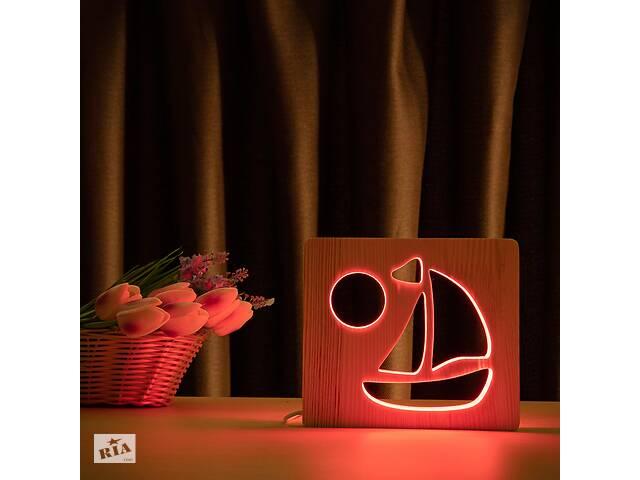 купить бу Светильник ночник из дерева LED с пультом и регулировкой цвета RGB Кораблик Arteco Light (1020443) в Киеве
