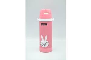 Термос-поилка детский с ремешком 500 мл STENSON MT-2087 (розовый заяц)
