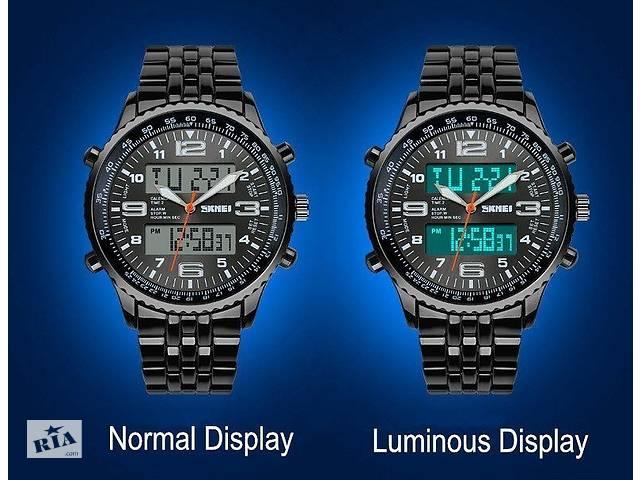 Мужские наручные часы SKMEI оригинал черные с стальным браслетом