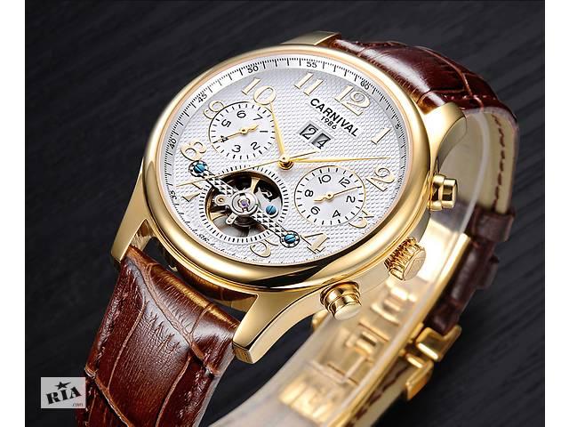 купить бу Чоловічі класичні механічні годинники Carnival Swiss Brown.  Гарантія 1 Рік. Безкоштовна Доставка f1c2e15e8ff96