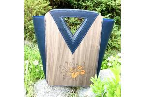 Авторская сумка ручной работы из дерева и кожи