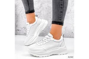 Белые кожаные женские кроссовки с перфорацией, кожаные кроссовки 36-41р код 3540