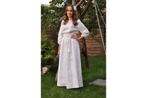 Біле плаття-вишиванка з ніжною вишивкою білим по білому