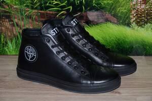 Ботинки кеды зимние кожа и мех натур М32 размеры 40 41 42 43 44 45