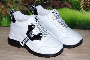 Ботинки кроссовки зимние OFF-WHITE натуральная кожа М39б размеры  36 37 38 39 40 41