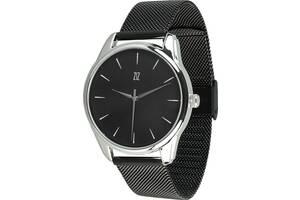 """Часы """"Белым по черному"""" (ремешок из нержавеющей стали черный) + дополнительный ремешок (5016489)"""