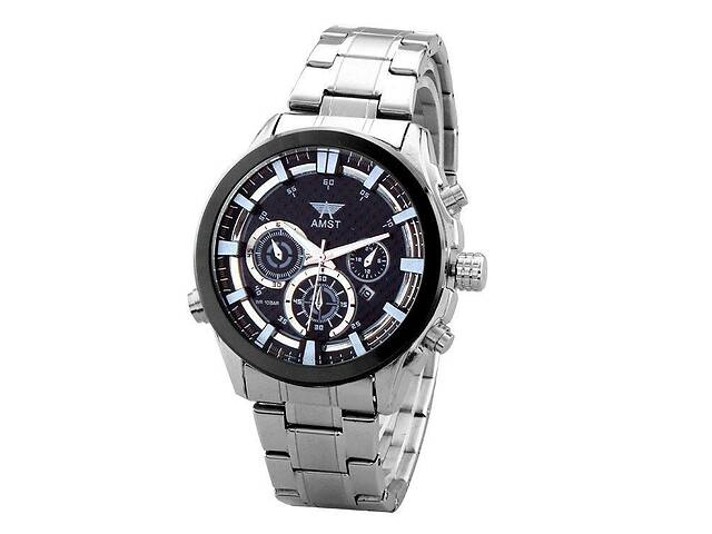 купить бу Часы мужские наручные AMST Hamilton+фирменная коробка в подарок silver-black-black в Харькове