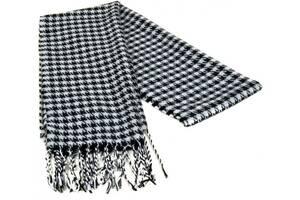 Черно-белый мужской шарф 190 на 31 см 5014-2