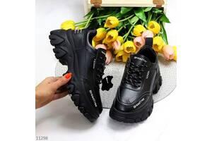 Черные кожаные кроссовки, демисезонные кроссовки DejaVu, красовки кожаные, кроссовки 36-41р код 11298