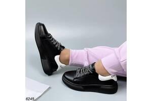 Черные кожаные женские кроссовки с перфорацией 36-41р код 6245 24, 37