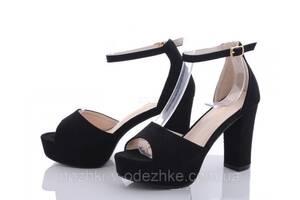 Черные замшевые босоножки на устойчивом каблуке закрытая пятка размер 36 38 40