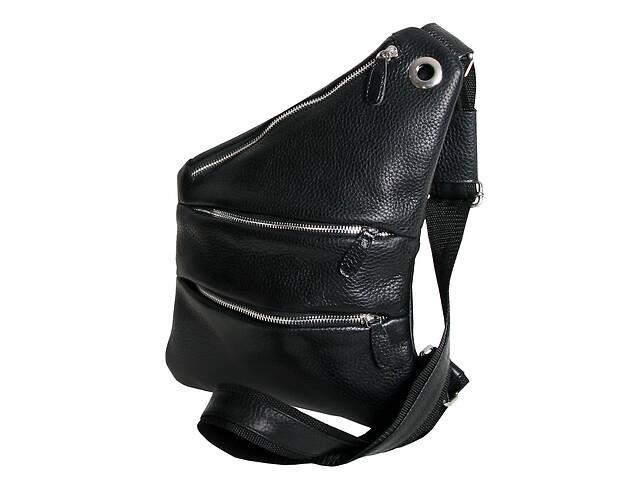 продам Чоловіча сумка-слінг шкіряна Vip Collection 1457-F Чорна бу в Киеве
