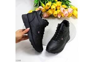 Демисезонные черные кроссовки, спортивные ботинки, кроссовки mine чорні кросівки 36-41р код 11568