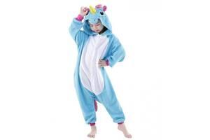 """Детское кигуруми-пижама My little pony """"Единорог"""" из велсофта, для детей ростом до 120 см., голубое"""