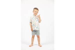 Детская летняя рубашка на мальчика с цветочным принтом короткий рукав Art class