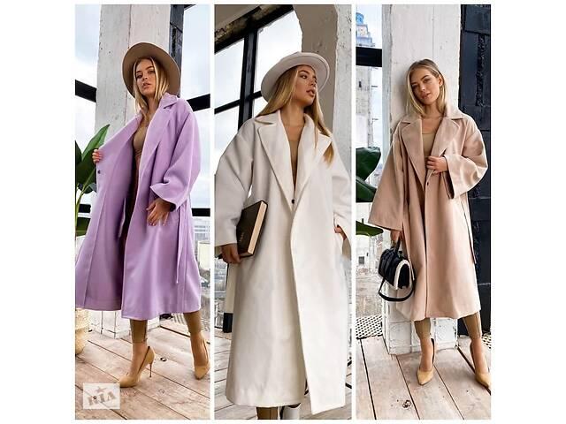 бу Элегантное женское пальто демисезонное кашемировое длинное на кнопках под пояс 3 цвета в Харькове