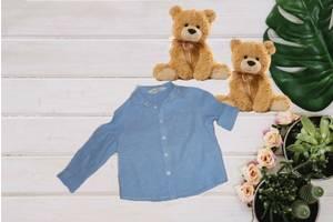 H&M лен+хлопок Стильная детская рубашка для мальчика  голубая  92