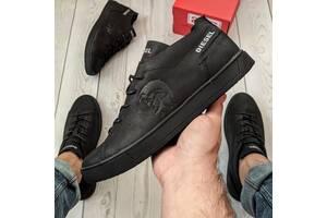 Кеды кроссовки мужские кожаные Diesel Pirate Black