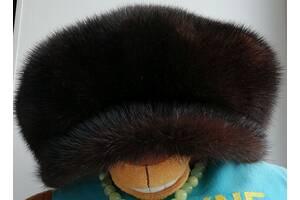 Кепка, кепи, шапка женская меховая норковая Saga Furs, с защитой для ушей. Мех отменный, качество - класс