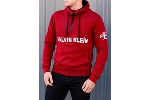 Кофта с капюшоном весенняя Calvin Klein.Купить красную худи кельвин кляйн недорого в Украине.