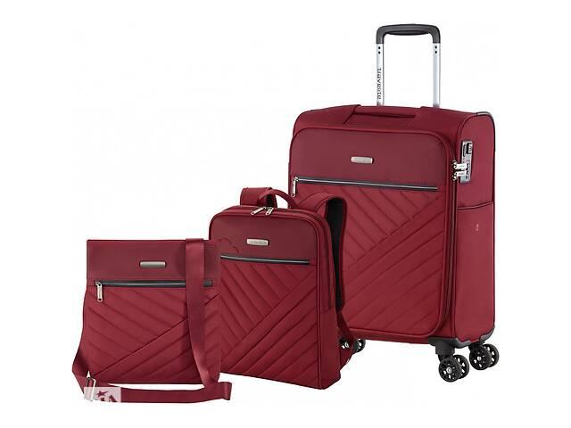купить бу Комплект чемодан сумка рюкзак Travelite Jade S 4 колеса, бордовый в Киеве