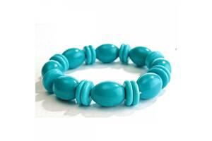 Комплект:намисто (бусы), браслет и серьги Голубая Бирюза (имитация)