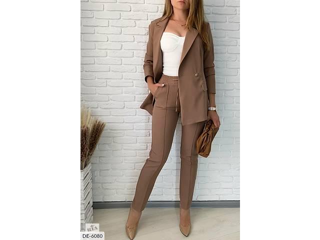 купить бу Костюм брючный женский большого размера цвета кофе SKL11-261244 в Одессе