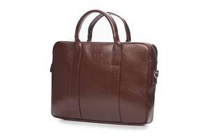 Кожаная сумка для ноутбука EDYNBURG на ремне каштановая SlrSL20Maroon