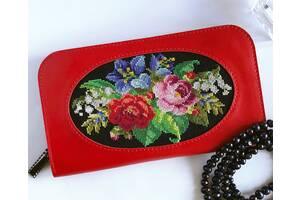 Червоний шкіряний гаманець, жіночий гаманець з вишивкою, жіночий гаманець на блискавки, шкіряний гаманець, гаманець з вишивкою