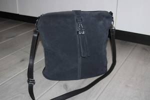 Красивая замшевая сумка темно-серый цвет