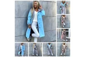 Красиве жіноче пальто демісезонне кашемірове на ґудзиках і з накладними кишенями 4 кольори З М