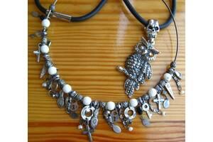 металлическая сова череп, подвеска, чёрное колье, застёжка магнит. торг