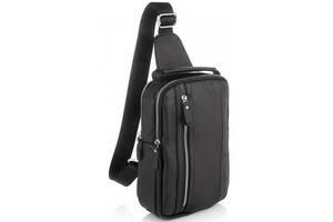Мужская кожаная сумка слинг Tiding Bag черный