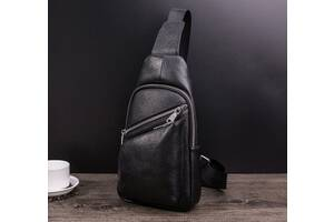 Мужская кросс-боди сумка на грудь кожаная