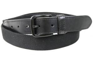 Мужской тканевый ремень с кожаными вставками H&M черный