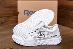 Мужские кожаные летние кроссовки, перфорация Reebok Classic  White