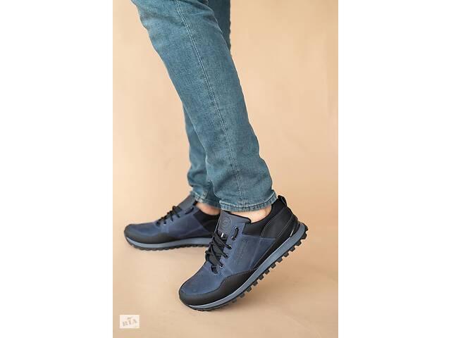 купить бу Мужские кроссовки кожаные весна/осень черные-синие Anser 95 Emirro в Хмельницком