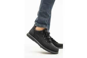 Мужские туфли кожаные весна/осень черные-матовые Yuves 650 (43)
