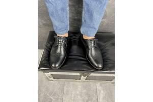 Мужские туфли кожаные весна/осень черные Vivaro 611 (Oxford)