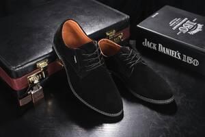Мужские туфли замшевые весна/осень черные Yuves М5 (Trade Mark)