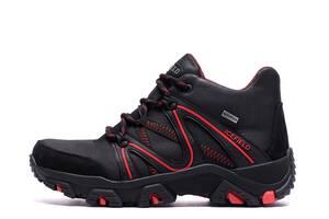 Мужские зимние кожаные ботинки IceField Gore-Tex Black  (реплика)