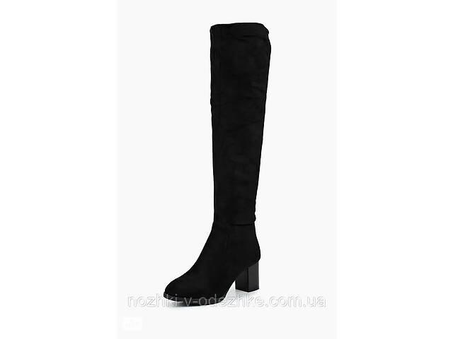бу Нарядные замшевые женские высокие сапоги ботфорты черные каблук 37 размер в Львові