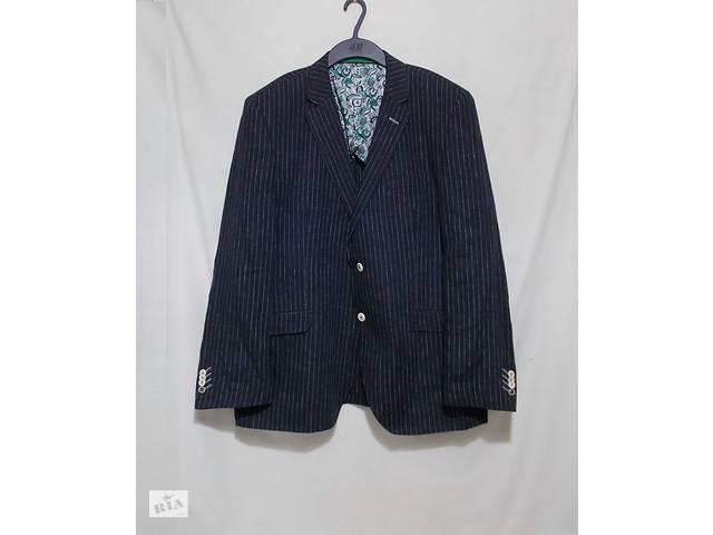 бу Новый пиджак темно-синий в полоску льняной STONES 54-56р в Павлограде