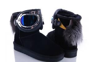 Низкие угги с лыжными очками, натуральная замша 36,40р