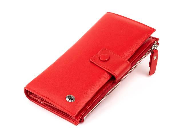 купить бу Оригинальный кошелек кожаный женский на хлястике с кнопкой ST Leather 19281 Красный в Киеве