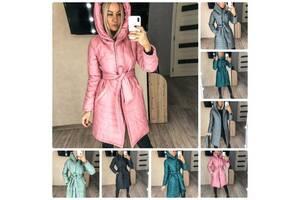 Пальто подовжене жіноче Gracias 2021 синтепон 150 капюшон, пояс, 5 кольорів