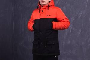 Парка Nike Зимняя мужская оранжево-черная куртка найк