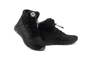 Підліткові черевики шкіряні зимові чорні Monster Ш